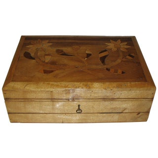 Handmade Wooden Box with Inlaid Flower Design