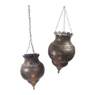 Vintage Moroccan Handcrafted Pierced Brass/Metal Hanging Lanterns - a Pair