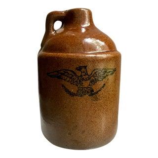 Antique Earthenware American Inked Eagle Whisky Jug