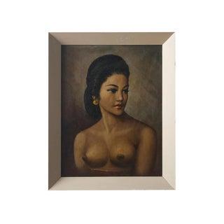 Vintage Balinese Female Nude Oil Painting