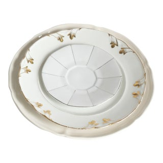 Vintage White & Gold China Plates- Set of 3