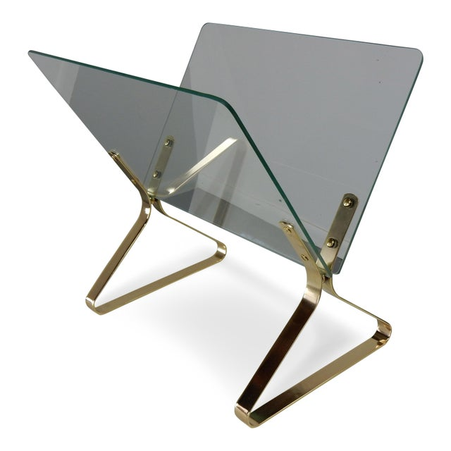 Milo Baughman Glass and Brass Magazine Rack - Image 2 of 8