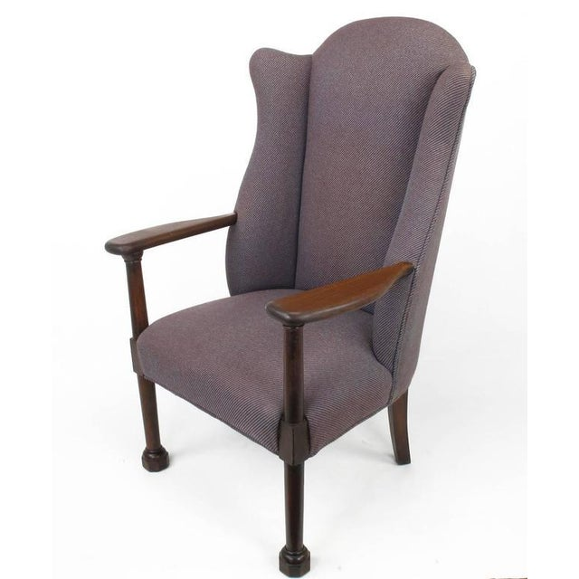 Image of Late 1800s English Arts and Crafts Open Arm Wingback Chair