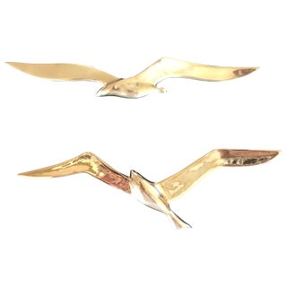 Vintage Brass Flying Birds Wall Decor - A Pair