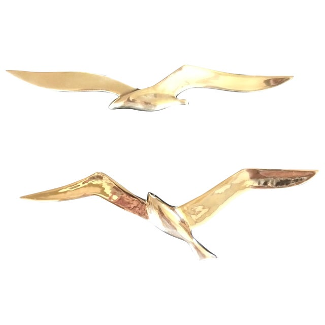 Image of Vintage Brass Flying Birds Wall Decor - A Pair
