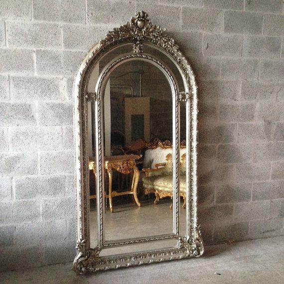 Silver French Louis XVI Style Floor Mirror - Image 2 of 4