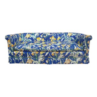 Highland House of Hickory 1970s Blue & Yellow Floral Sofa