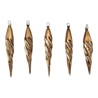 Vintage Gold Icicle Ornaments by Inge-Glas - S/5