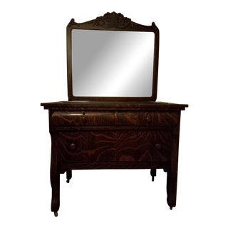 Tiger Wood Empire Style Commode With Mirror