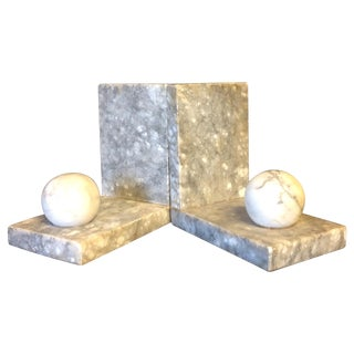 Italian Minimalist Marble Bookends - A Pair