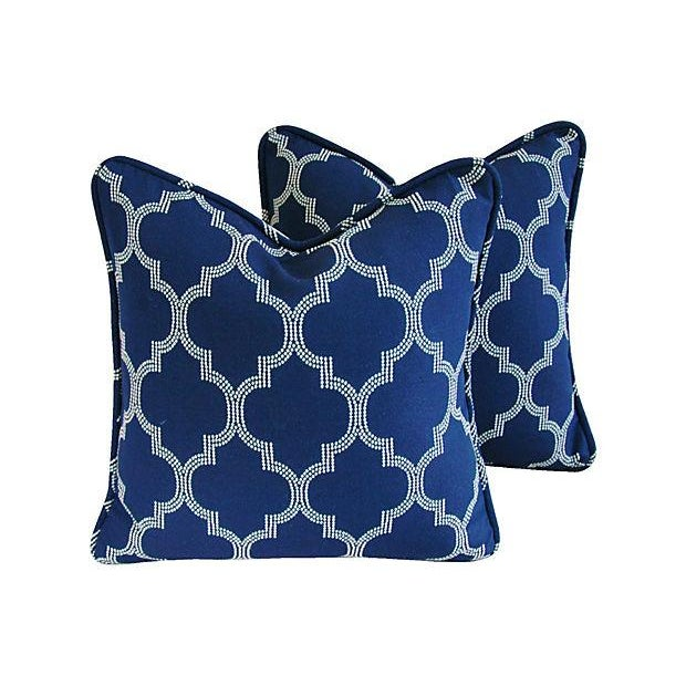 Custom Bocce Blue White Geometric Pillows- A Pair - Image 1 of 7