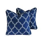 Image of Custom Bocce Blue White Geometric Pillows- A Pair
