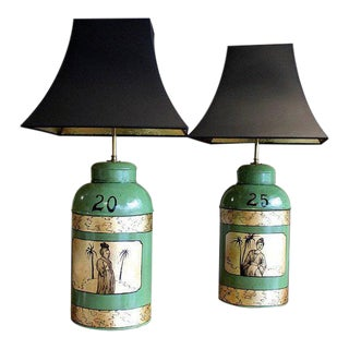 Green & Gilt Decorated Tôle Tea Canister Lamps - A Pair