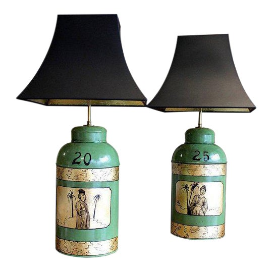 Green & Gilt Decorated Tôle Tea Canister Lamps - A Pair - Image 1 of 8