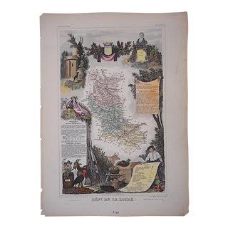 Antique Map Provinces of France Engraving, La Loire