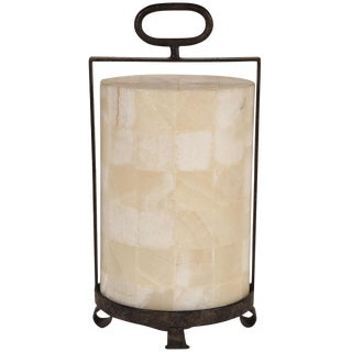 Quartz and Iron Lantern Style Table Lamp