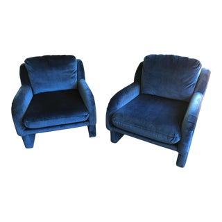 Blue Velvet Chairs - a Pair