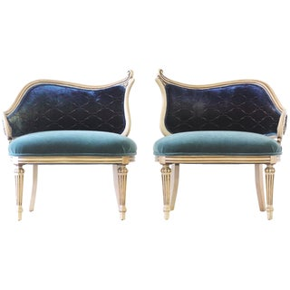 Hollywood Regency Upholstered Chairs - A Pair