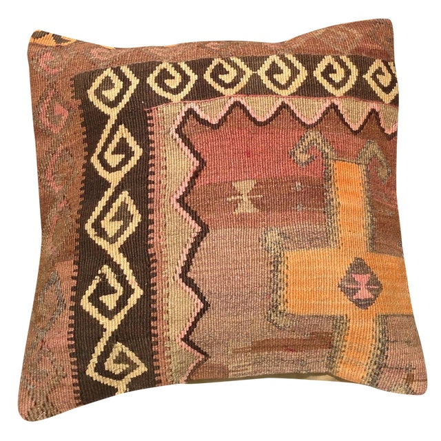 "Decorative Anatolian Kilim Pillow - 20""x 20"" - Image 1 of 6"