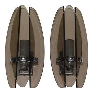 Vintage Fontana Arte Style Sconces - A Pair
