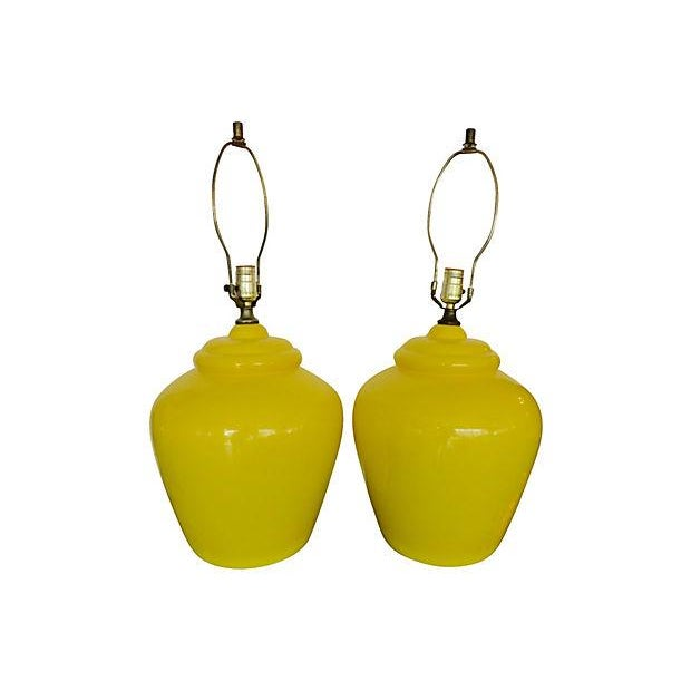 Daffodil Mid-century Ceramic Lamps- A Pair - Image 4 of 5