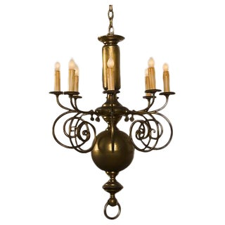 Tall, Narrow Antique Dutch Brass Chandelier with Eight Arms circa 1900