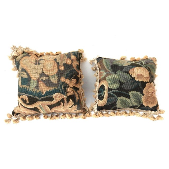 French Square Verdure Petit Point Pillows - a Pair - Image 2 of 8