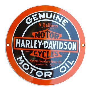 Enamel Harley Davidson Domed Sign