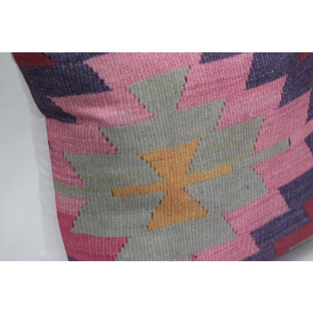 Diamond Pattern Kilim Inspired Print Pillow - 18'' - Image 6 of 8