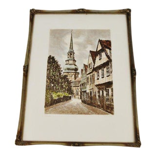 Early Stade Germany Framed Color Engraving