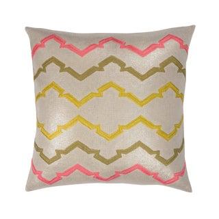 "22"" Natural Metallic Linen Pillows, Jackie - A Pair"