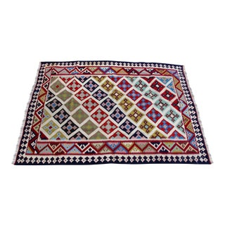Vintage Turkish Kilim Rug - 5' X 6'9''