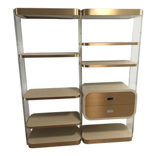 Lucite & Brass Illuminated Wall Unit
