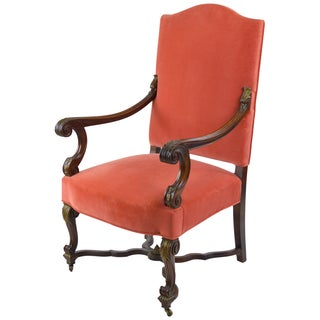 French Louis XIII-Style Velvet Armchair in Salmon