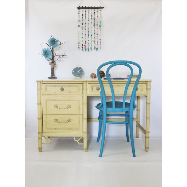 Thomasville Faux Bamboo Desk With Fretwork - Image 4 of 11