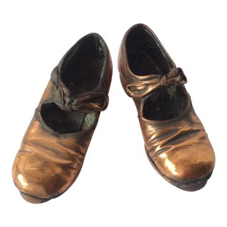 Antique Copper Coated Girl Tap Shoes - A Pair