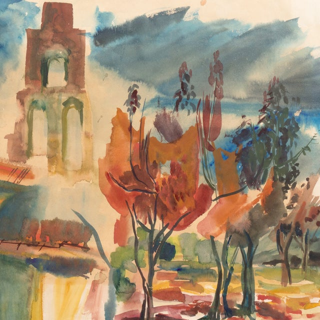 Image of California Mission Landscape by Dora Masters, 1955