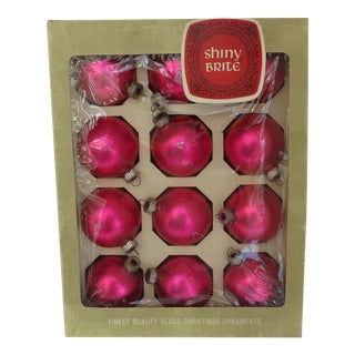 Vintage Shiny Brite Pink Christmas Ornaments - Set of 12
