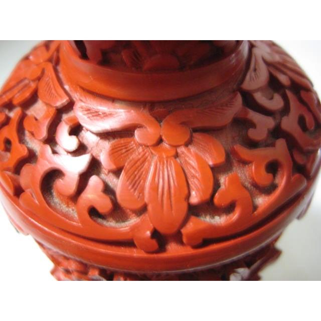 Small Mid-Century Chinese Cinnabar Cabinet Vase - Image 9 of 9