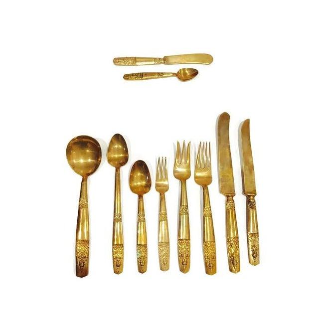 Image of Midcentury Brass Silverware Regency Glam for 12