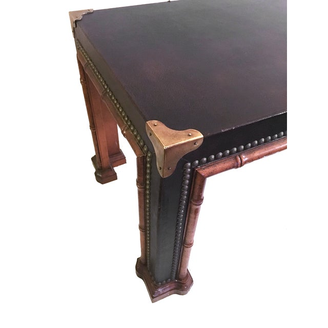 Image of Drexel Vintage Leather Campaign Style Coffee Table