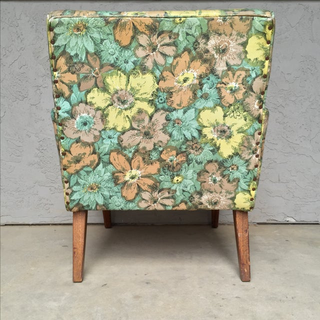 Mid-Century Floral Vinyl & Walnut Lounge Chair - Image 9 of 9