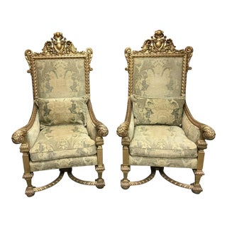 Hand Carved Gold Throne Chairs - A Pair
