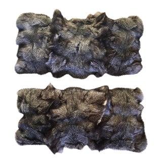 Grey Fur Pillows - A Pair