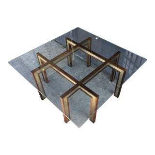 Henning Korch Rosewood & Aluminum Glass Top Coffee Table