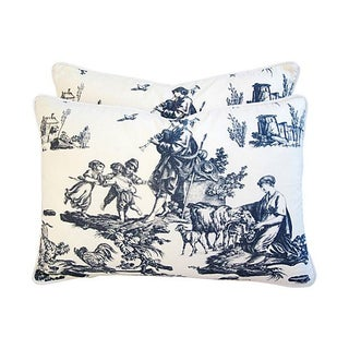 French Countryside Toile Pillows - a Pair