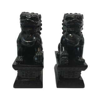 Black Foo Dog Bookends - A Pair
