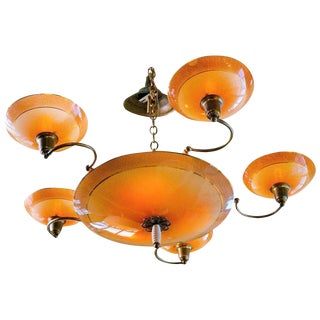 Vintage Glass Art Deco Shaded Glass Chandelier with Five Arms and Eight Lights