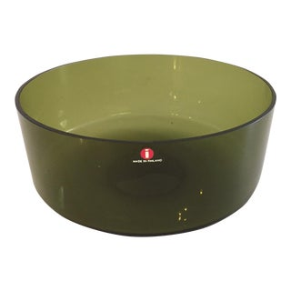 Iittala Smoked Green Glass Scandinavian Bowl