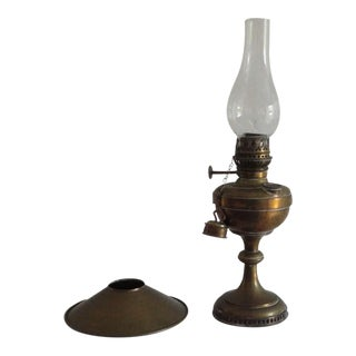 Fine Early 19thc Brass Oil Lamp With Original Glass Globe